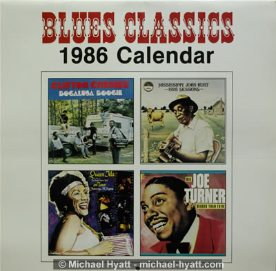 1986 Classic Blues Calendar cover