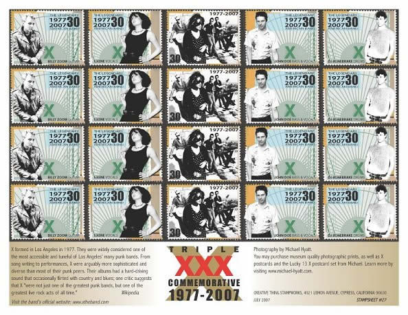 30th Anniversary X the Band stamp sheet