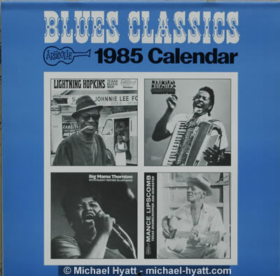 Cover of 1985 Classic Blues Arhoolie Calendar